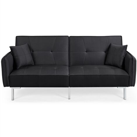 Fabric Sofa Bed 3 Seater Click Clack Sofa Couch Recliner Settee for Living Room/Bedroom with Arms&2 Cushions