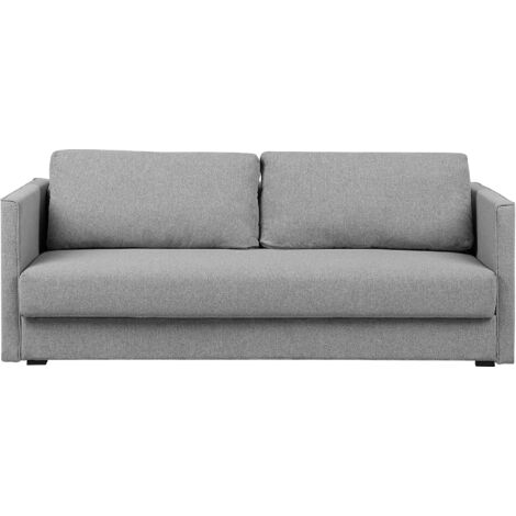 Fabric Sofa Bed Convertible Sleeper with Storage Removable Cushions Grey Eksjo
