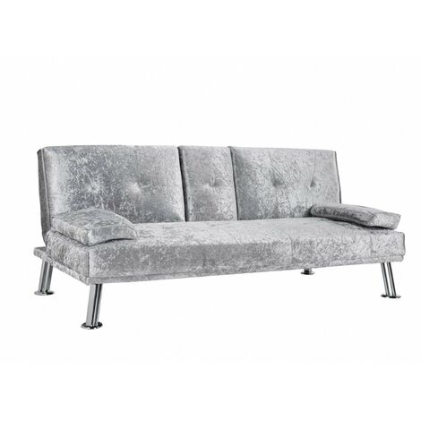 "main image of ""Fabric Sofa Bed Cupholder 3 Seater Chrome Legs, Velvet Silver"""