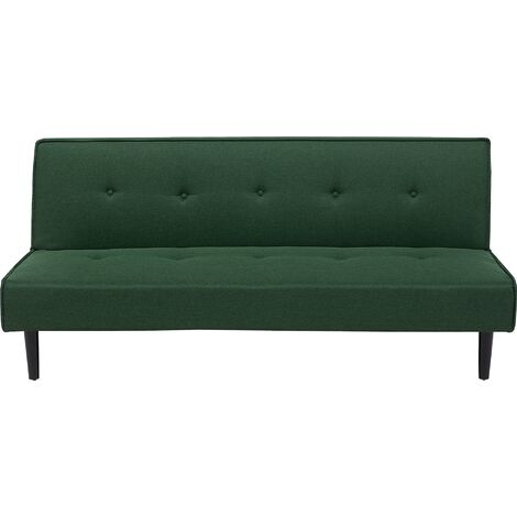 Fabric Sofa Bed Dark Green VISBY