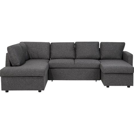 Fabric Sofa Bed Dark Grey KARRABO