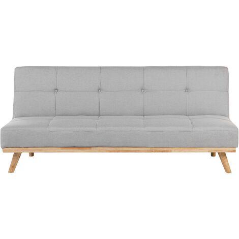 Fabric Sofa Bed Light Grey FROYA