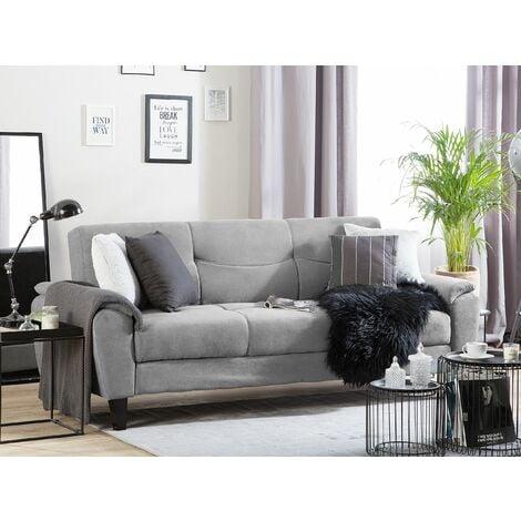 Fabric Sofa Bed Light Grey HALMSTAD