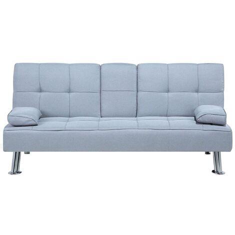 Fabric Sofa Bed Light Grey ROXEN