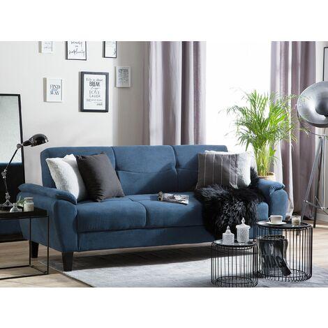 Fabric Sofa Bed Navy Blue HALMSTAD