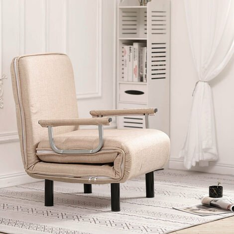 Fabric Sofa Bed Recliner Chair Single/Double Sleeper Bed Couch Sofabed Grey