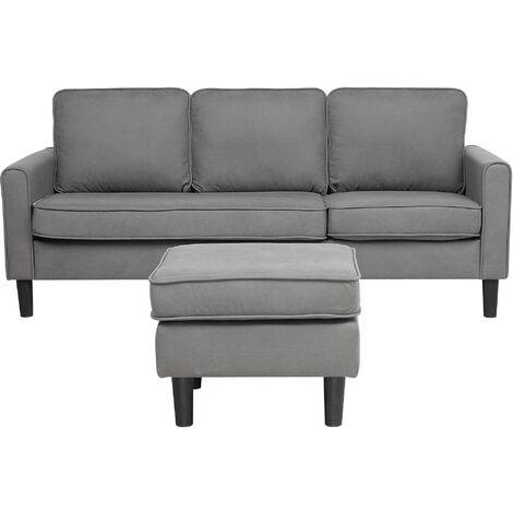 Fabric Sofa with Ottoman Light Grey AVESTA
