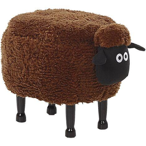 Fabric Storage Animal Stool Brown SHEEP