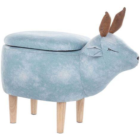 Fabric Storage Animal Stool Light Blue REINDEER
