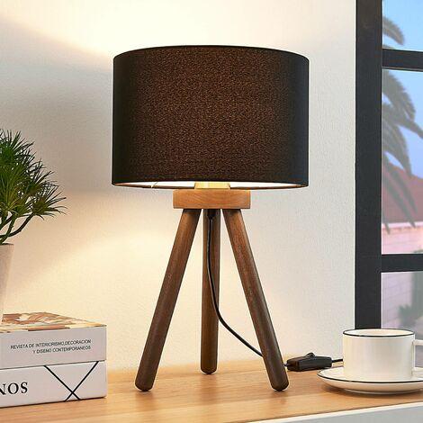 Fabric table lamp Majken - dark grey/black