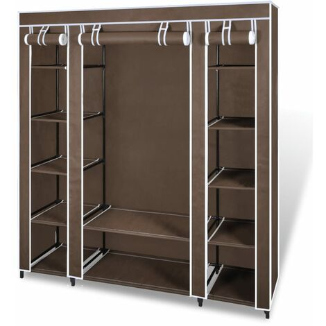 Fabric Wardrobe with Compartments and Rods 45x150x176 cm Brown