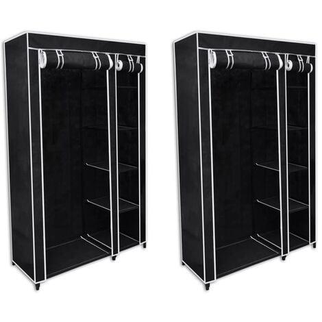 Fabric Wardrobes 2 pcs Black - Black