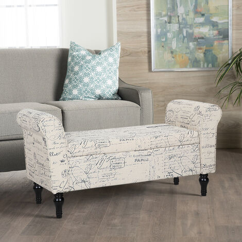 Fabric Window Seat Bench Chaise Lounge Bed End Arm Chair Storage Box