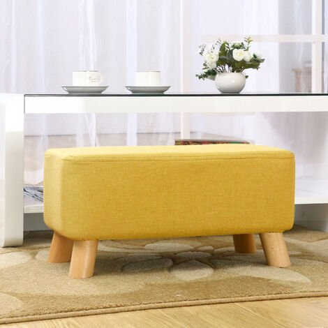 Fabric Wooden Footstool Ottoman Pouffe Padded Seat Stool Foot Rest Yellow