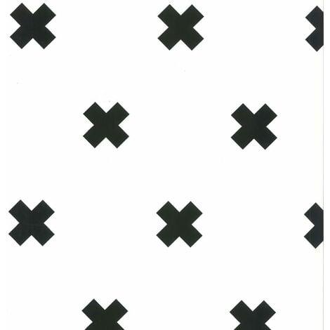 Fabulous World Wallpaper Cross White and Black 67104-6