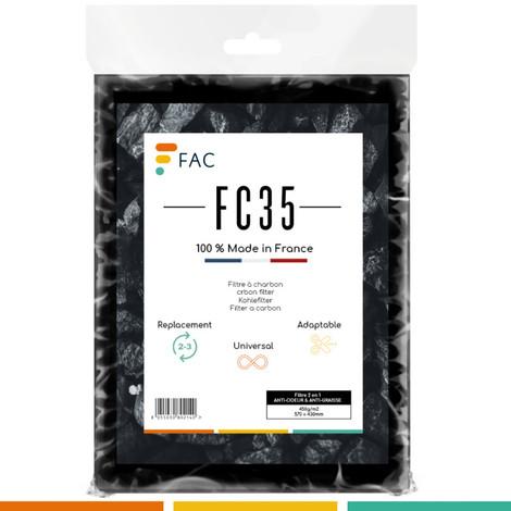 Fac FC35 - Filtre au charbon actif pour hotte aspirante 2 couches séparables : anti-odeur & anti-graisse | Universel : dimension 47*57 cm. à découper au ciseau | Longue durée | Grande efficacité