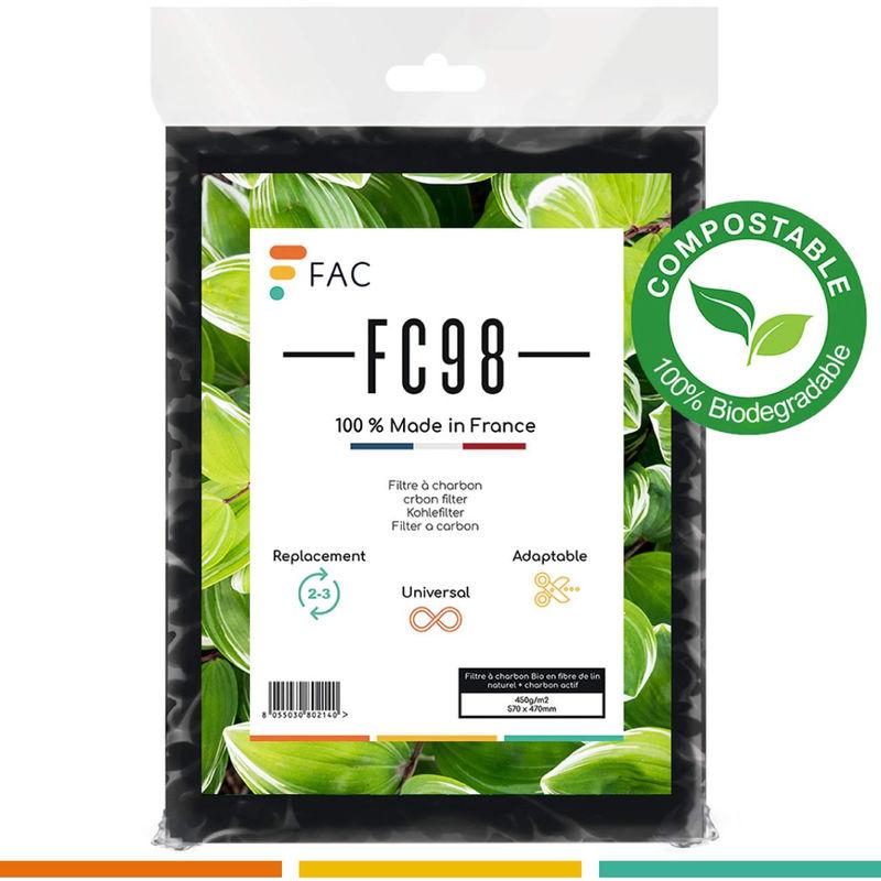 FC98 - filtre à charbon Bio en fibre de lin naturel + charbon actif - Fac