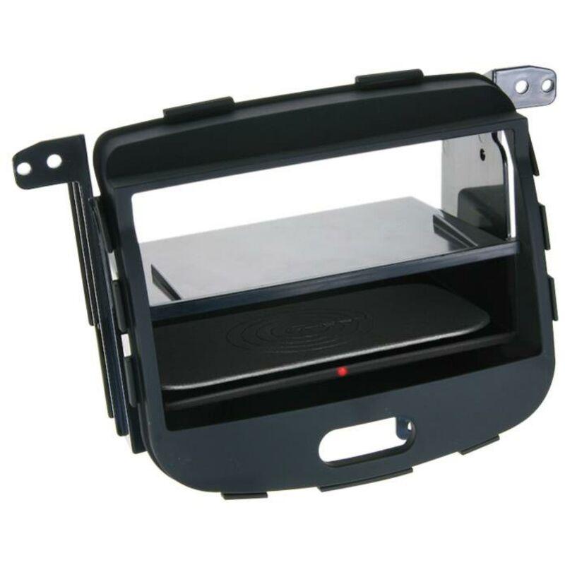 Facade 2DIN compatible avec Hyundai i10 08-13 Vide poche Induction Qi Noir Rubber touch