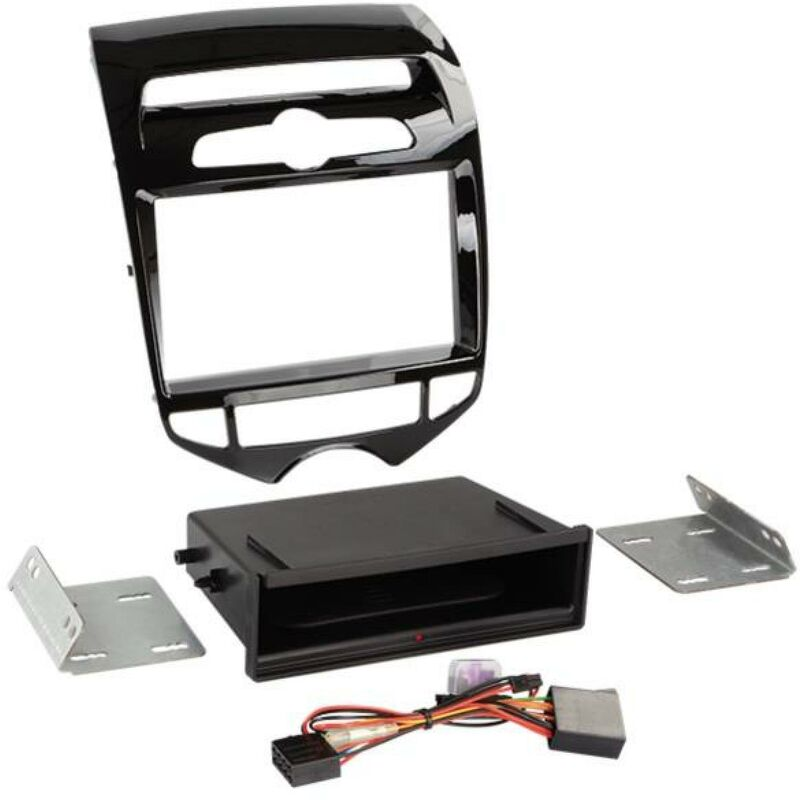 Facade 2DIN compatible avec Hyundai ix20 ap10 Vide poche Induction Qi Noir brillant Clim