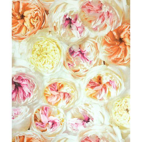 Facade Floral Wallpaper Roses Flowers Cream Pink Orange Vinyl Embossed Textured