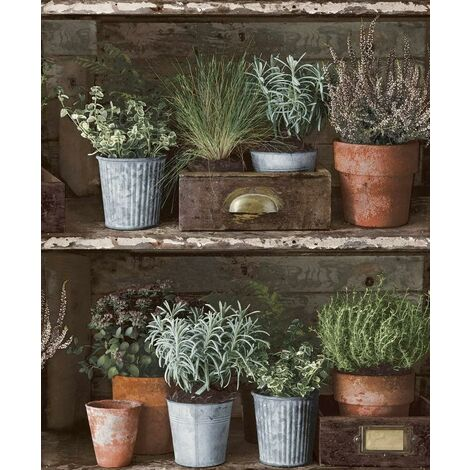 Facade Flower Pots Wallpaper Grandeco Paste The Wall Vinyl Rustic Wood Effect