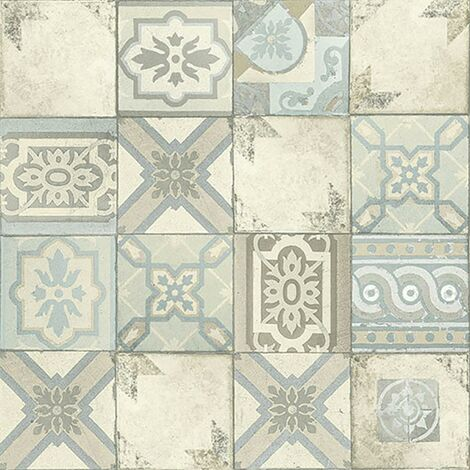 Facade Moroccan Tile Wallpaper Grandeco Paste The Wall Textured Vinyl Cream