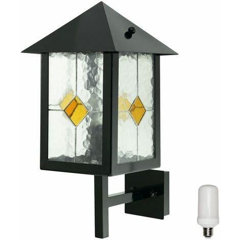 Fachadas de lámparas de pared con tecnología de Tiffany. Conjunto de lámparas de cristal con efecto de llama, incluidas bombillas LED.