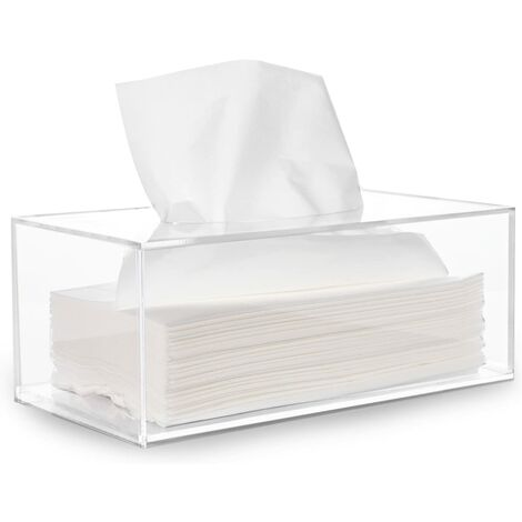 Facial Tissue Dispenser Box Cover Holder Clear Acrylic Rectangle Napkin Organizer for Bathroom, Kitchen and Office Room