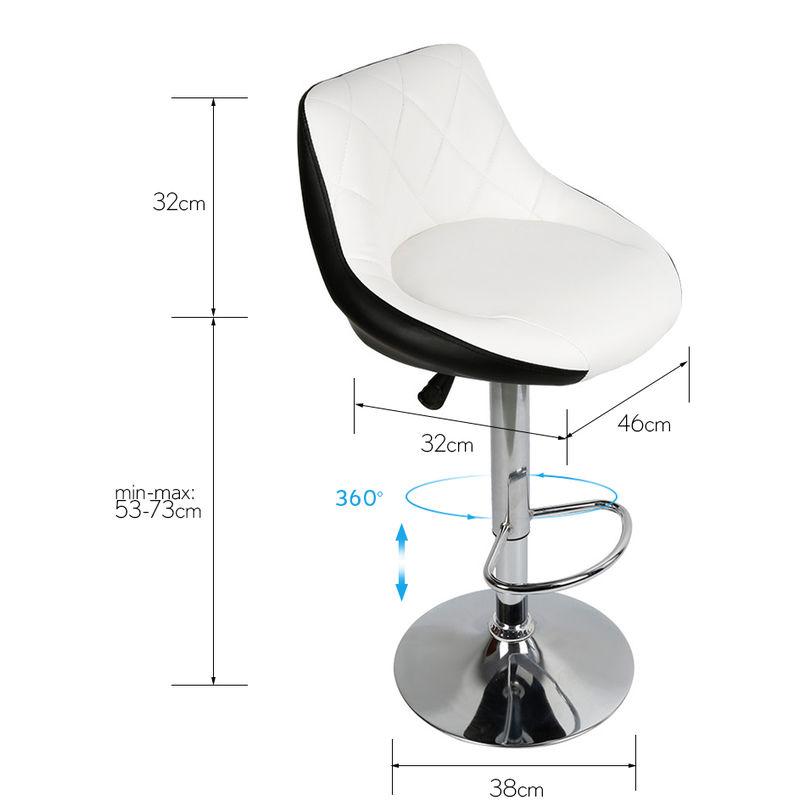 Facile à Nettoyer Tabouret de Bar Lot de 2 avec siège Bien rembourré, en Cuir Artificiel Chaise de bar Similicuir blanc noir
