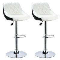 Facile à Nettoyer Tabouret de Bar Lot de 2 avec siège Bien rembourré, en Cuir Artificiel Chaise de bar Similicuir blanc-noir