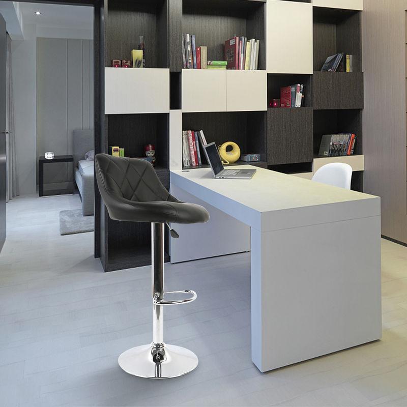 Facile à Nettoyer Tabouret de Bar Lot de 2 avec siège Bien rembourré, en Cuir Artificiel Chaise de bar Similicuir noir