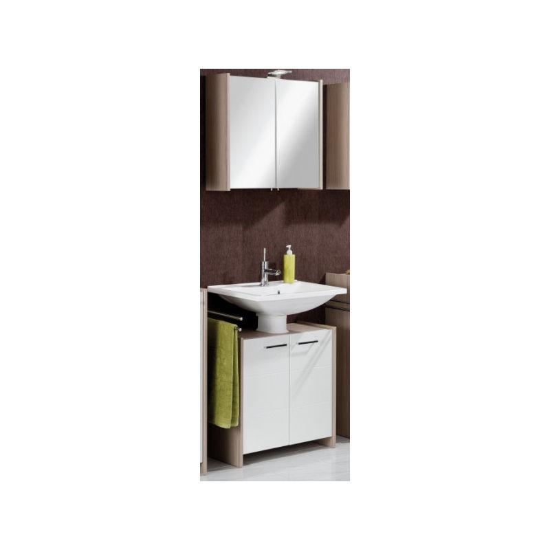 KAYO Badmöbel Set 4-teilig mit Spiegelschrank, 64cm breit, Weiß/Braun-'06317145' - Fackelmann