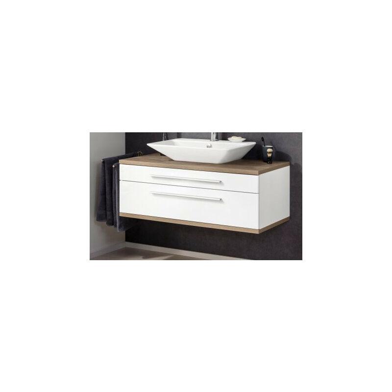 STANFORD Badmöbel Set 2-teilig,110 cm breit, Weiß/Braun, Gussmarmor-'06338145' - Fackelmann