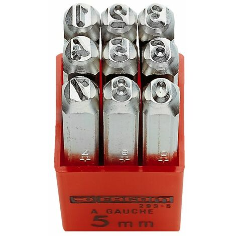 Facom 293A.5 5Mm Set Of 9 Number Punches