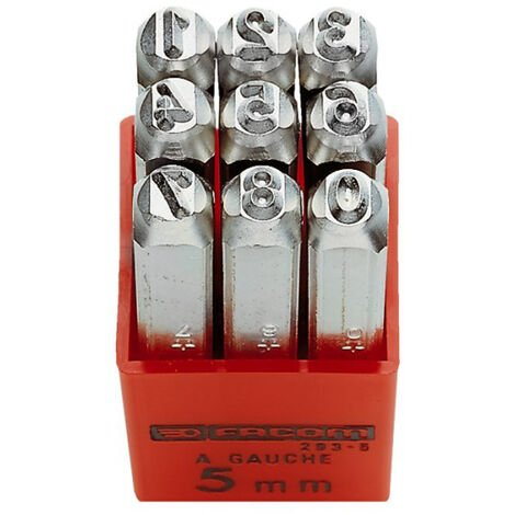 Facom 293A.6 6Mm Set Of 9 Number Punches