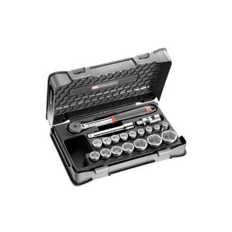 Facom Coffret douilles 1/2 6 pans métriques - 19 pièces S.161-2P6PB 201.58