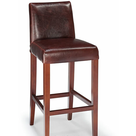 Faconze Leather Fixed Height Kitchen Breakfast Bar Stool Brown Padded Seat Fully Assembled Brown