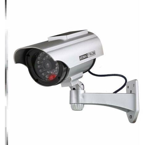 Factice Caméra Surveillance à l'énergie Solaire Appareil-Photo de dôme de télévision en Circuit fermé de sécurité avec la lumière Clignotante de LED pour extérieur Maison Affaires (1Paquet)