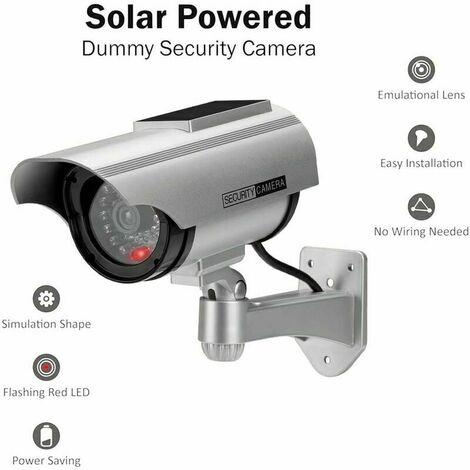 Factice Caméra Surveillance à l'énergie Solaire Appareil-Photo de dôme de télévision en Circuit fermé de sécurité avec la lumière Clignotante de LED pour extérieur Maison Affaires (Argent-1 Pack)
