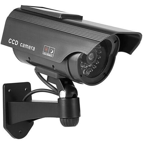 Factice Caméra Surveillance à l'énergie Solaire Appareil-Photo de dôme de télévision en Circuit fermé de sécurité avec la lumière Clignotante de LED pour extérieur Maison Affaires (Noir-2 Pack)
