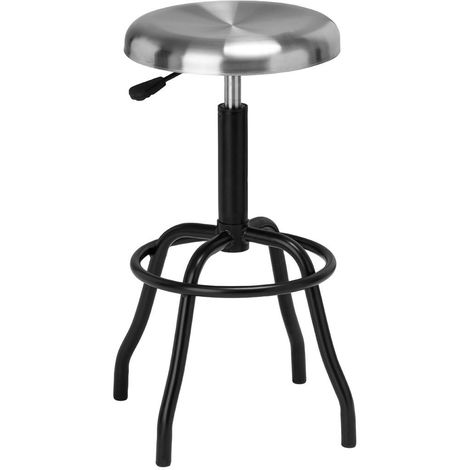 Factory Style Bar Stool,Brushed Stainless Steel Seat,Black Base