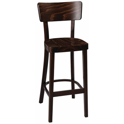 Fagone Walnut Bar Stool Fully Assembled Solid Wood Hand Crafted With Back