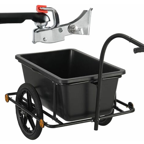 Fahrradanhänger 90 Liter - Lastenanhänger mit Kupplung & Deichsel – Anhänger für Fahrrad 80 kg Zuladung – Transportanhänger mit Reflektoren | Juskys