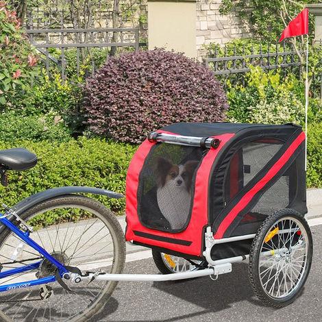 Fahrradanhänger Hundetransporter Transportanhänger Hundeanhänger für Fahrräder Rot und Schwarz
