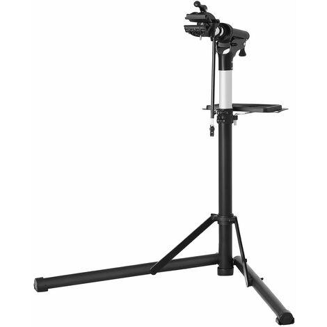 Fahrradmontageständer, Aluminium Montageständer für Fahrräder, Reparaturständer mit magnetischer Werkzeugschale, Reparaturset, höhenverstellbar, leicht, schwarz SBR04B - Black