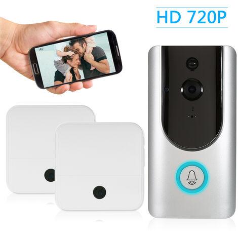 Faible Puissance Intelligente 720P Wifi Sonnette Interphone (Argent) Supporte Ir (Lampe Ir 6) Avec Deux Buzz Interieur (Blanc)