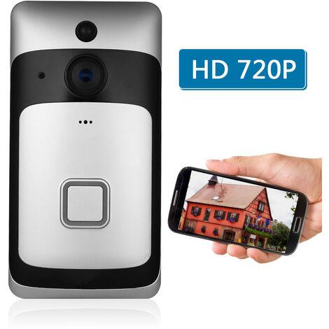Faible Puissance Intelligente Sonnette De Porte 720P Wifi (Livre Avec Batterie, Sans Buzz) + Argent Noir