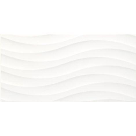 Faience à relief en vague blanche SILUETA BLANCO MATE 31.6 x 63.2 cm - 1.40m²