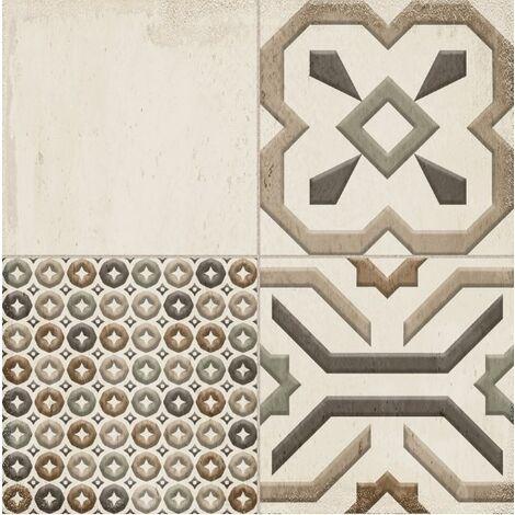 Faïence aspect carreau de ciment vieilli MELROSE PATCHWORK BONE 25x25 - 0,94 m²