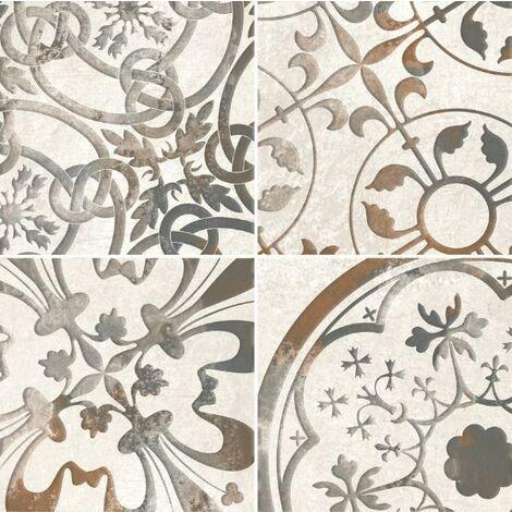 Faience aspect ciment aux motifs aléatoires STONEHAVEN RIFT CREAM 15X15 - 0,63 m²